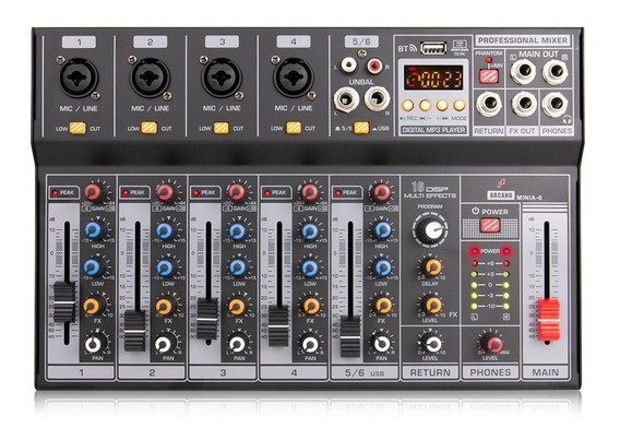 Mesa De Som Interface Arcano Minia-6 Canais Usb Digital