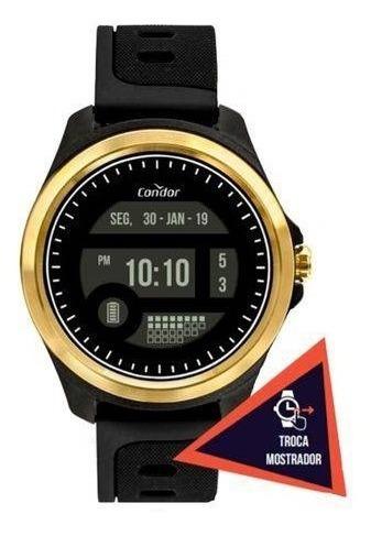 Relógio Condor Cokw05caa/8d Preto Pulseira Cinza Silicone