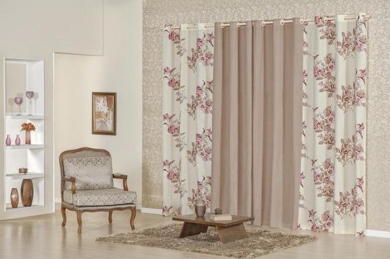 Cortina 3,00m X 2,50m Tecido Floral Para Sala Quarto Porta