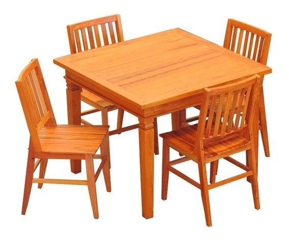 Conjunto Mesa Jantar Demolição 80x80 Cm 4 Cadeiras Madri