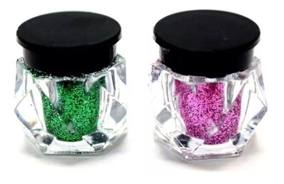 Set 12 Frasquitos De Glitter En Polvo Para Ojos Labios Uñas