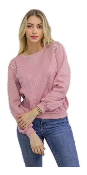 Blusa Feminina Rosa Manga Longa Com Perolas Inverno Frio