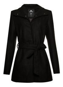 Casaco Tipo Trench Coat Feminino Alongado Em Tecido De Lã