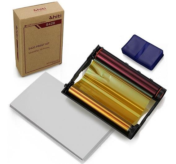 Papel / Ribbon Impressora Hiti S420 E 100 Carteirinhas 3x4