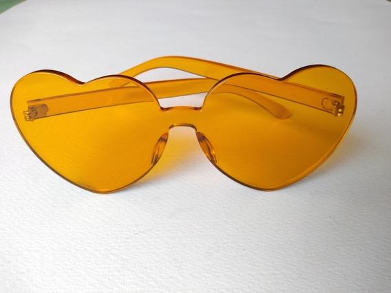 Lentes De Sol Acrilico Corazon Amarillos Moda Dama Mujer