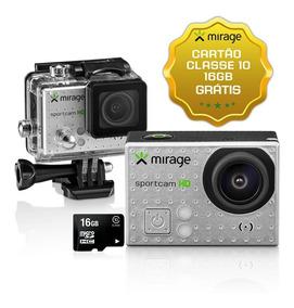 Câmera Ação Sport Hd Lcd 2 5mp + Cartão 16gb Prata Mirage
