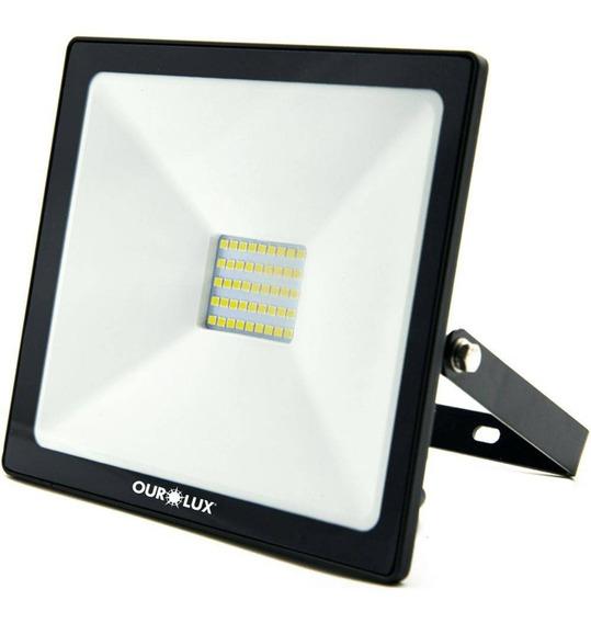 Refletor Superled Projetor Slim 30w Ourolux 6500k Branco