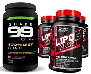 Combo Shake 99 550g + 3 Un Lipo 6 Black 60 Caps