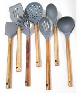 Set De 7 Utensilios Ecológicos Para Cocinar De Bambú-silicón