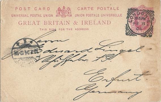 Tarjeta Entero Postal Gran Bretaña Año 1904 A Alemania