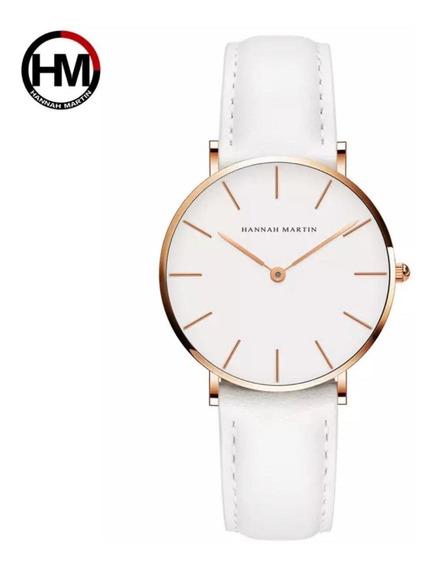 Relógio De Pulso Feminino Hanna Martin Rose Com Couro Branco