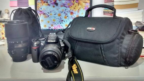 Câmera Nikon D3000, Lentes 18-55 & 55-300. Mais Acessórios