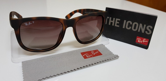 Óculos De Sol Ray-ban Justin 4165 Marrom Tartaruga Original.