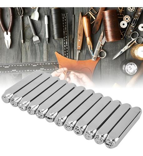 Imagen 1 de 9 de 12pcs 1/4 In Cuero Artesanía Sellos Metal Sello Acero Carbo