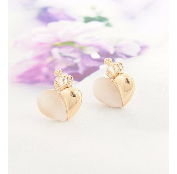 Brincos18k Ouro Chapeado Coroa Coração Para Mulheres