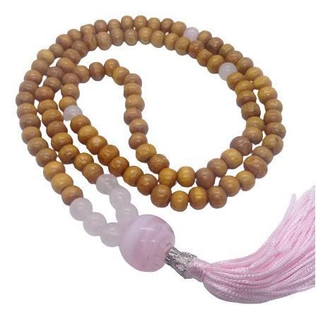Imagem 1 de 5 de Japamala 108 Contas De Madeira E Cristal Quartzo Rosa