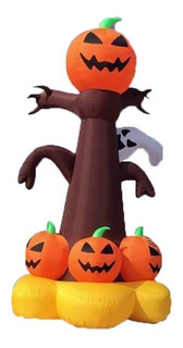 Inflable Halloween Arbol Con Calabazas Y Fantasma Con Luz