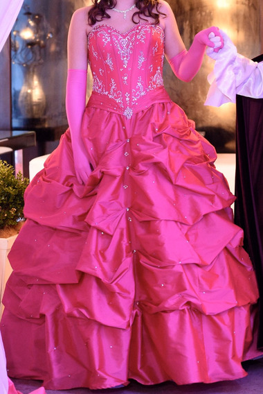 Vestido 15 Anos / Debutante Rosa Bordado -vestido De Festa