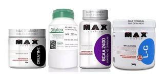 Dilatex 152cáps+ Glutamina 300g+ Bcaa 100cáps+ Creatina 100g