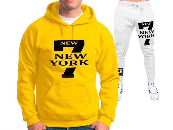 Kit = Calça + Blusa Moletom 7 New York Academia Masculino