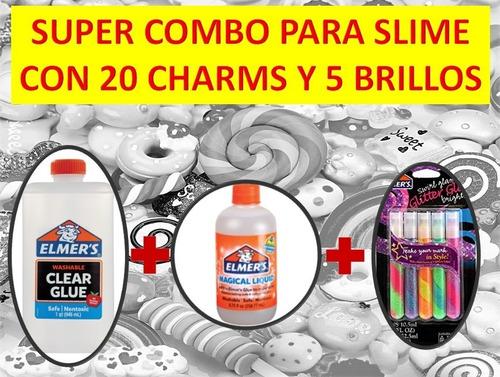 Kit Slime Elmers Adhesivo + Activador + Brillos + Charms