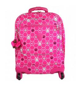 Mochila Escolar 4 Rodinhas Kipling Licia Pink Dog