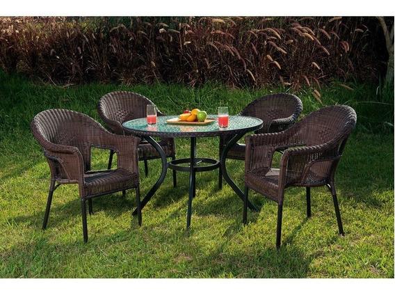 Conjunto De Mesa Com 4 Cadeiras Jardim Varanda Aluminio