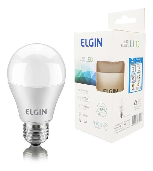 Kit 5 Lampada Led 12w Elgin Bulbo Branco Frio Inmetro