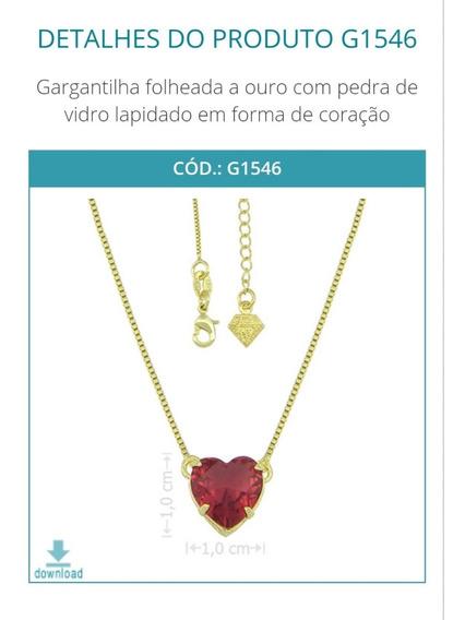 G1546 Gargantilha Folheada A Ouro Com Pedra De Vidro Lapidad