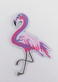 Patches Bordado Termocolante Flamingo Lilás/rosa 9,5x6,5cm