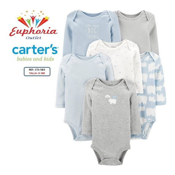 Carters Pack 6 Bodys Talla 0-3 Meses