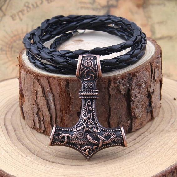 Pingente Viking Cobre Odin Thor Martelo Fashion Elegante