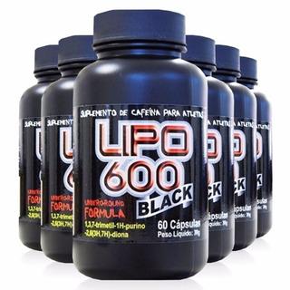 Termogênico Lipo 600 Black 420mg De Cafeína À Dose C/ 6 Unid