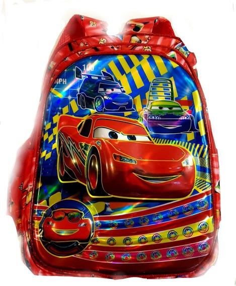 Mochila Cars Primaria Imagen 3d Plastificada 3 Cierres