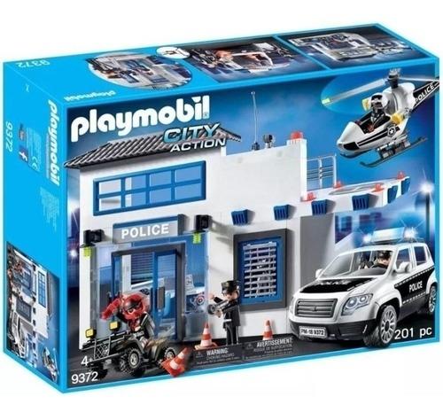 Playmobil Action Posto Policial Carro Polícia Helicóptero