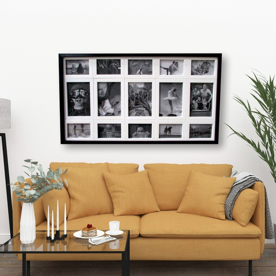 Quadro Painel Para 15 Fotos Pb - 90x51 Cm - Preto E Branco