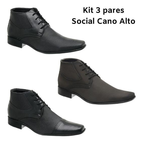 Kit 3 Pares Sapato Social Bota Promoção Masculino Cano Alto