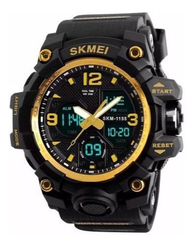 Relógio Skmei 1155b Digital Analogico G -shock Dourado