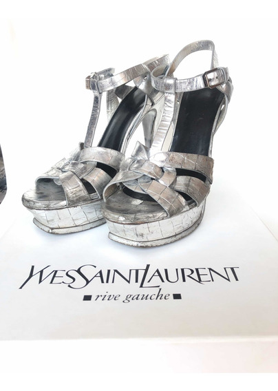 Yves Saint Laurent Ysl Tribute Cocco Plateados 37 1/2