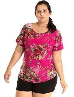 Lote 5 Blusa Plus Size Malha Fria Baby Look Estampada