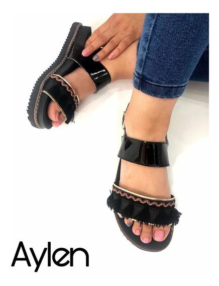 Sandalias De Mujer Con Plataforma Bajas Flecos Aylen