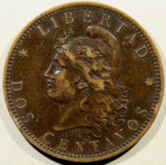 Argentina 2 Centavos De Patacòn 1887 Excelente