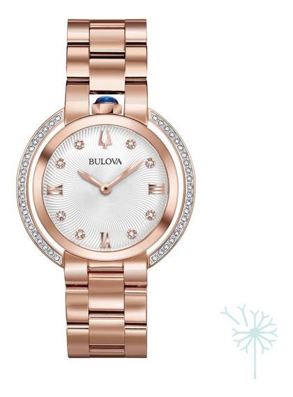 98r248 Reloj Bulova Rubaiyat Diamante Para Dama Rosado