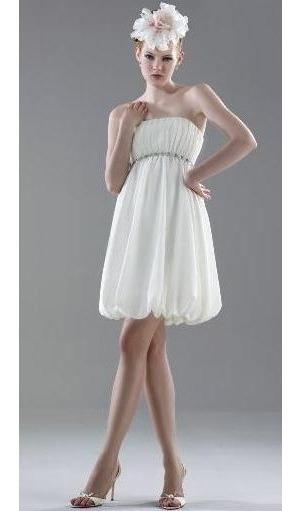 Vestido Crema Tipo Globo Strapless Lob Talla 2 Mediano