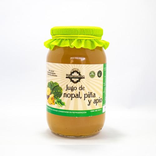 Imagen 1 de 2 de Jugo De Nopal, Piña Y Apio Artesanal 500ml