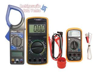 Kit 4 Em 1 Amper;+ Sensor Temp. + Multímetro C/ Capacímetro