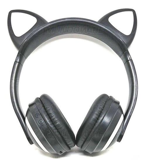 Headphone De Gatinho Orelhas Led Coloridas Bluetooth P2 Preto
