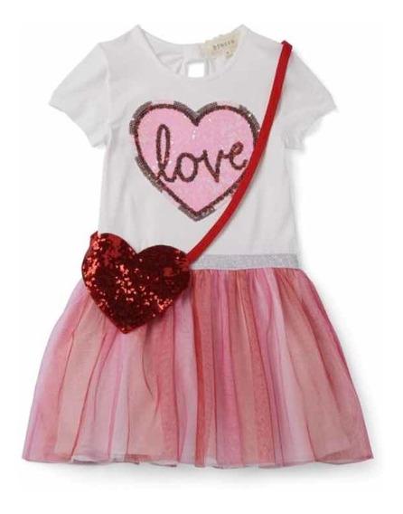 Vestido Para Niña San Valentín Incluye Bolsita