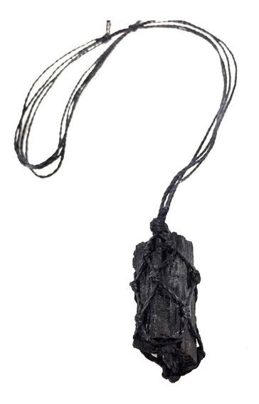Colar De Pedra Natural Bruta Castroada Turmalina Negra Tira E Bloqueia Energias Negativas Talismã Cristal Da Proteção