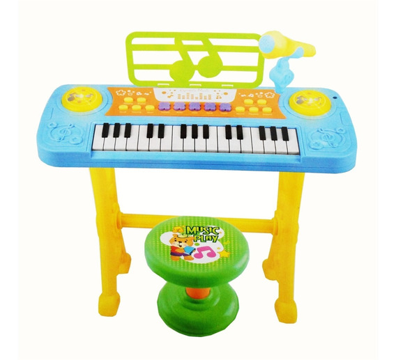 Piano Teclado Infantil Instrumento Musical Microfone Azul
